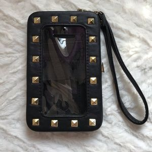 Studded black Cell phone wallet 4 X 6 with strap
